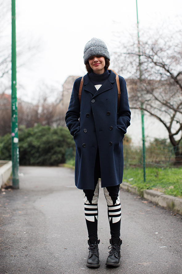 milan beanie and coat thesartorialist.com