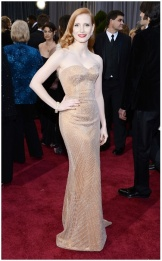 Jessica Chastain pale but beautiful in Armani Prive