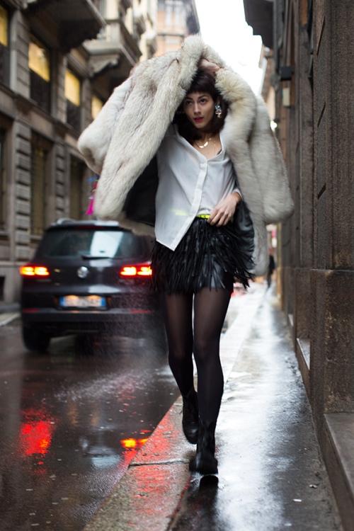milan fur coat thesartorialist.com