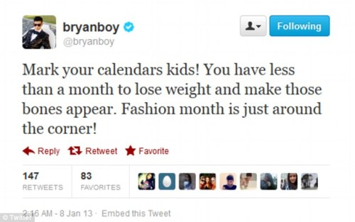 bryanboy tweet dailymail.co.uk