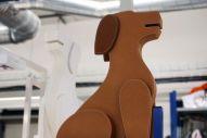 Dog-shaped newspaper stand